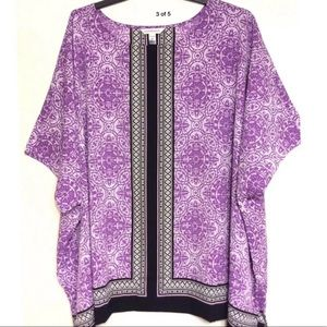 Croft & Barrow Top 3X NWT Purple Black White 💜